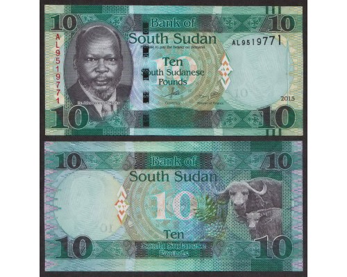 БЕЗ СКИДКИ Банкнота 10 фунтов Южный Судан 2015-2016 KR