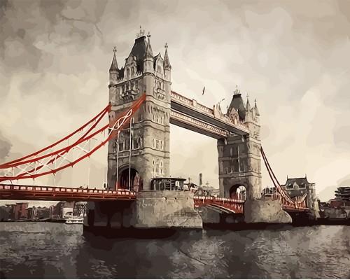 """Картина для раскрашивания по номерам ФРЕЯ """"Лондон. Тауэрский мост"""" 50*40см."""