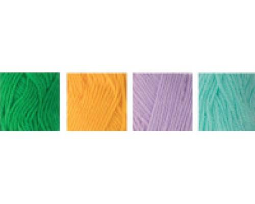 """Пряжа """"Hobbius"""" Simple 100% акрил 4 х 25г. 66м+3м.№04 зеленый,желтый,сиреневый,бирюзовый"""