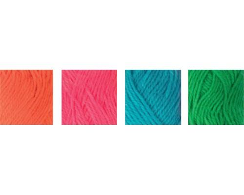 """Пряжа """"Hobbius"""" Simple 100% акрил 4 х 25г. 66м+3м.№02 оранжевый,светло-розовый,голубой,зеленый"""