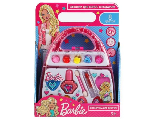 """Косметика для девочек """"Барби"""" тени, лак д/ногтей, помада, заколки на блистере МИЛАЯ ЛЕДИ в кор"""